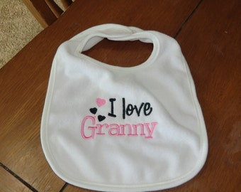 Embroidered Baby Bib - I Love Granny - Girl