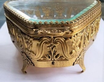 Ormolu Jewelry box casket - gold tone filigree - velour lined - Beveled Glass Vintage
