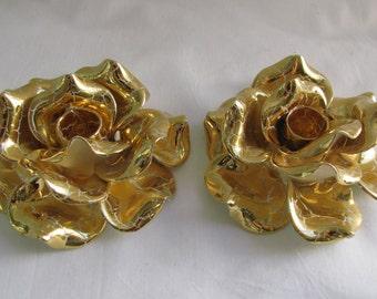 Vintage Gold Leaf Crackle on Rose Flower Taper Candle Holders