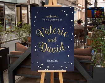 Wedding Welcome Poster,  CUSTOM Printable Wedding Welcome Sign, Navy Blue and Gold starry night, Rehearsal Dinner Welcome Signage, Printable