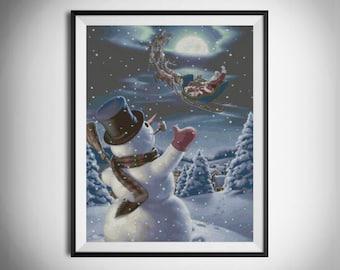 Christmas cross stitch, Snowman cross stitch, Winter cross stitch, Counted cross stitch, Claus cross stitch, Printable PDF Pattern #041