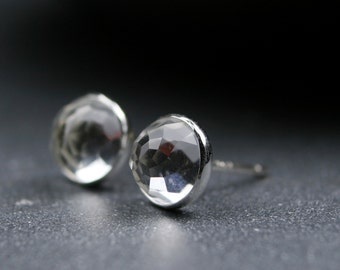 Rose cut white topaz and sterling silver bezel set earrings 6mm