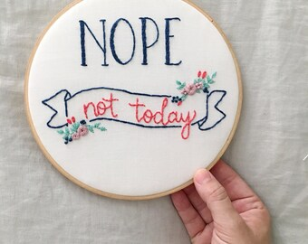 Funny Cross Stitch, Gifts Under 50, Gifts for Mom, Funny Quotes, Gallery Wall, Embroidered Hoop Art, Embroidery Designs, Bright Design