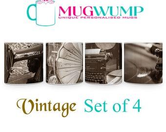 Vintage Style Mugs Set of 4. Hand Printed Vintage Mugs.