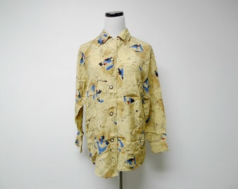 Paul Et Duffier . signature or scribble print rayon long sleeve shirt . XS - S