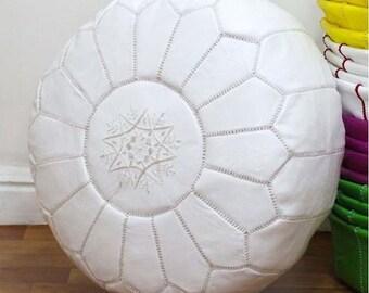 PREMIUM Genuine Leather Moroccan Pouf Pouffe - WHITE
