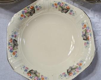 Vintage Soup Bowl Set of 12 Edwin Knowles Floral Design Planter Vintage China Dish Chippy PanchosPorch