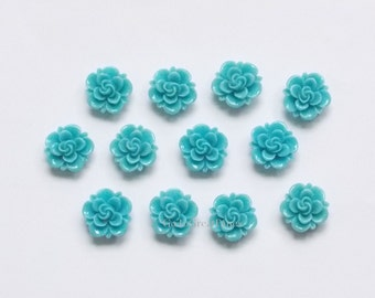 12 Cabs 19mm Blue Resin Roses, Flatback Flower Cabochon, medium blue, vintage style jewelry supplies, 19 mm Blue Rose, Classic Rose Cabachon