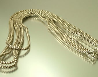 Vintage 1970s three row silver plated snake chain costume necklace - jewelry jewellery