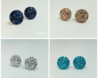 Stud Earrings Midnight Blue, Cyan Blue, Silver or Rose Gold 12mm Faux Druzy Hypoallergenic Titanium - Sensitive Ears