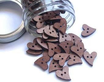 10 Pieces Heart Wood Button.