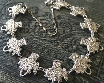 Vintage B-K Sterling Silver Bracelet Art Deco Style Genuine Marcasite Stone Flower Basket Link Bracelet