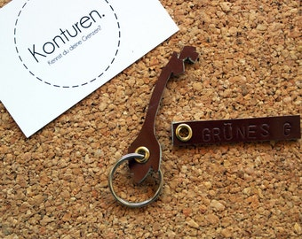 Norway / Norway Keychain - key chain, leather, Brown