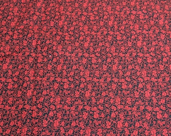 Red Leaves on Black Cotton Fabric