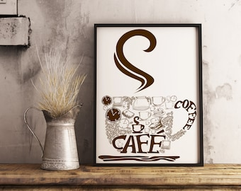 Kitchen art, coffee typography, coffee cup, diningroom art coffee Framed photo paper poster