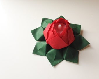 Romantic Holiday Gift - Lotus Flower Light - Tea Light Paper Flower -  origami, battery LED candle - can ship directly - Christmas decor