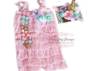 Birthday Unicorn Outfit Girl Pink Lace Romper Headband Necklace SET Baby Pettiromper Ruffle Romper Outfit Mint Lavender Blue Pink Baby Photo