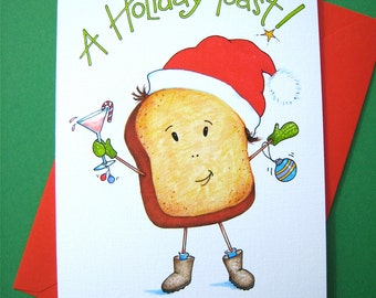Holiday Toast Christmas Cards Boxed Set - Pun Christmas Cards - Funny Christmas Cards - Christmas Drinking