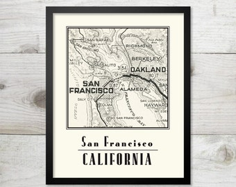 San Francisco Vintage Map Art Print  8 x 10