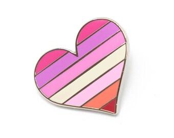 Lesbians pride pin, gay lapel pin, lesbian flag pin, heart enamel pin, gay decoration, feminist pin, LGBTQ pin, love is love, parade pin