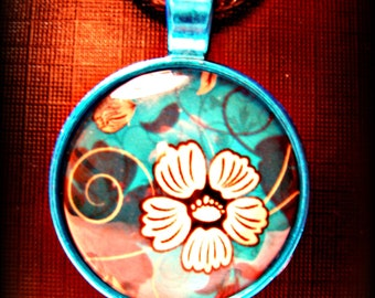 Turquoise Blue Necklace with White Flower (shipping included)