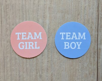 Gender Reveal Stickers. Team Girl stickers. Team Boy Stickers - Set of 20 - PGRC0
