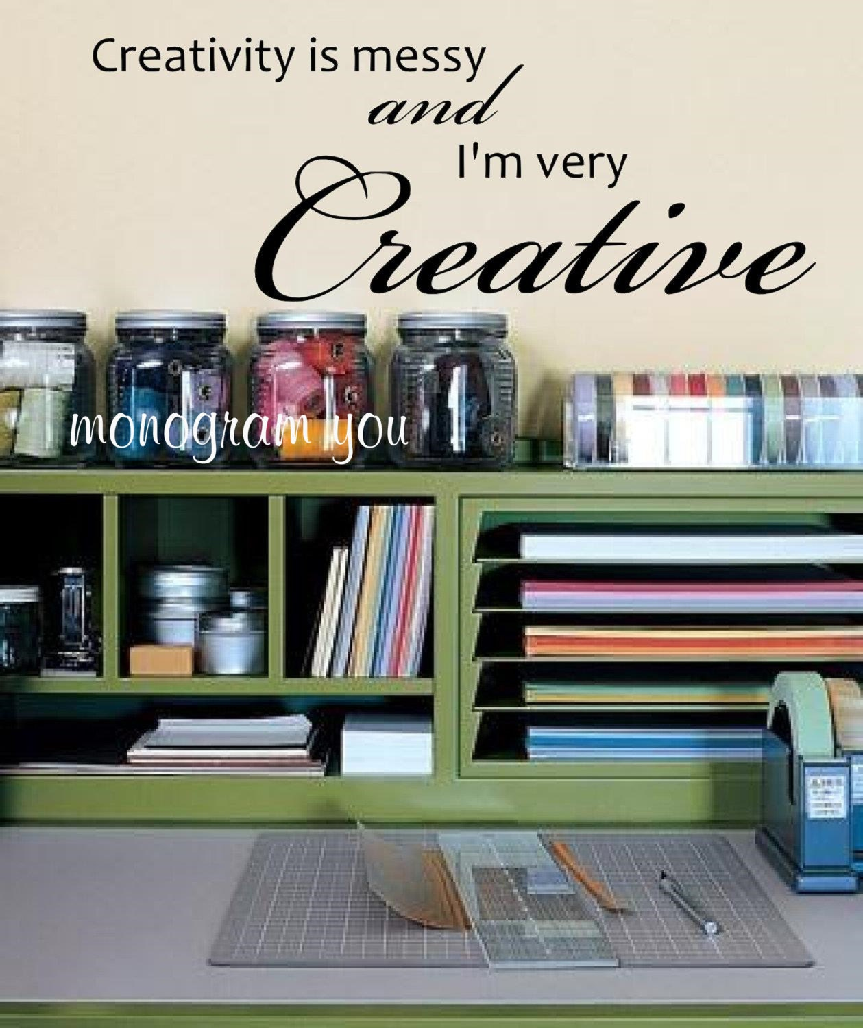 Messy Walls But I Like It: Craft Room Wall Decal 'Creativity Is Messy And I'm