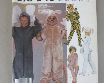 1980s McCall's Pattern 2624 for Boys and Girls Animal Costumes Size 2