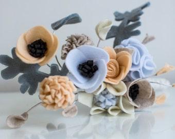 Peach, grey felt brides bouquet