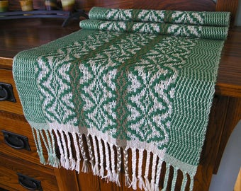 Handwoven Table Runner Unique Home Decor Table Scarf Textile Housewarming Gift with Braided Fringe One of a Kind 15 x 37 inches - Green Pine