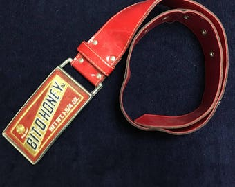 Bit o Honey Red Vinyl Unique Vintage Belt with Felt/Embroidered Logo on Buckle