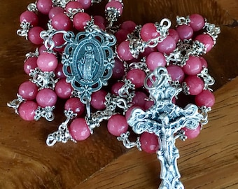 Handmade rosary in pink jade beads with immaculate heart center and ornate crucifix - with matching pocket, one decade rosary
