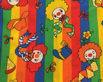 Vtg Novelty Children's Fabric - 4 Yards - Bright Clowns and Stripes