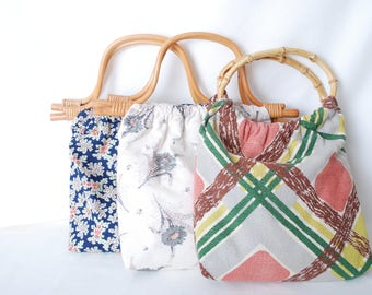 Free Shipping 3 Different Vintage Fabric Purses with Bamboo Handles