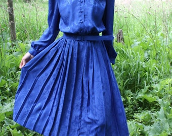 Vintage Long Sleeve Dress Button Up Pleated Skirt Midi Blue Belted Dress APPLESEED'S Small / Medium