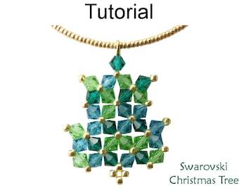 Beaded Christmas Tree Pattern - Holiday Jewelry Making Tutorials - Crystal Necklace - Simple Bead Patterns - Swarovski Christmas Tree #21220