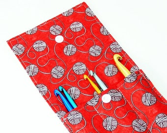 Crochet Hook Case, crochet hook organizer storage, travel wallet, crochet supplies, hook holder
