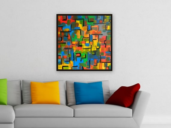 Large Original colorful abstract painting, Unstretched, Acrylic painting red yellow orange blue green gray black wall art decor