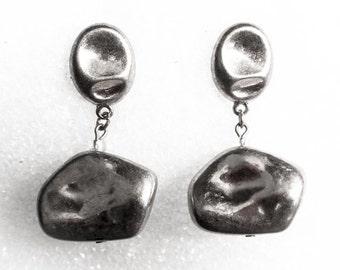 Silver Nugget Drop Earrings    Vintage Post      Silver Tone