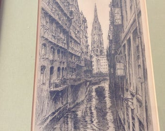 "Paul Geissler Etching ""Hamburg"""