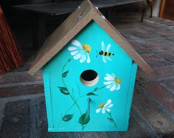 Handcrafted Wood Birdhouse with hand painted Daisies and Bee and stained roof with real wood twig