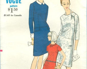 1966 Misses' A-line Dress with Jewel or Bateau Neck and Bias or Shaped Roll Collar   Size 12 - Vogue Sewing Pattern 6851