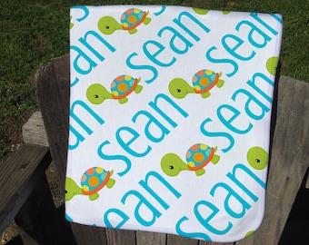 Turtle Personalized Baby Blanket - Turtle Receiving Blanket - Boy Turtle Name Blanket - Infant Swaddling Blanket - Custom Turtle Blanket
