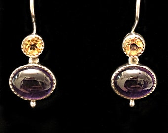 Citrine and Amethyst 925 Sterling Silver Earrings