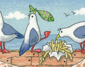 Heritage Crafts - Fish 'n' Chips Cross Stitch Kit from the By the Sea Collection by Karen Carter