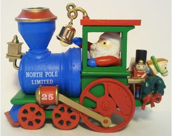 Locomotive Christmas Ornament Christmas Express North Pole Limited Train Engine Carlton Heirloom Collection Vintage Collectible 1990 MIB