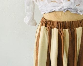 Striped Multi Tiered Silk Skirt