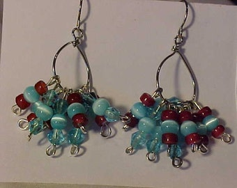 Dangle EARRINGS~GLASS Beads in Blue and Red~Beads on Wire Hoops~STYLISH~Fashionable~Silver Tone Findings and Wire~For any Occasion