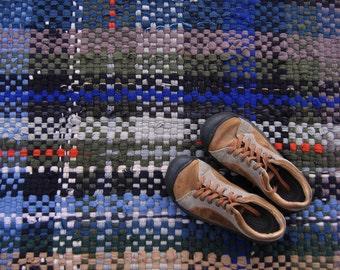 Rag Rug, Recycled Sweater Rug, Handwoven Rug, Merino Wool Rug, Plaid Rug, Blue, Green, Beige, Wool Sweater Rug