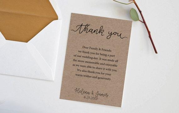 Rustikale danke Hinweis Card Template danke Hochzeit Hilfe